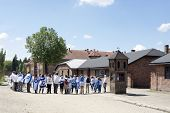 OSWIECIM - MAY 26: Jewish youth group visits the concentration camp in Oswiecim, Poland on May 26, 2