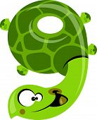 stock photo of strangled  - Number 9 funny cartoon smiling green turtle - JPG