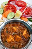 foto of paneer  - Kadai paneer cheese curry in a cardamon gravy with naan bread and salad - JPG