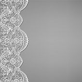 stock photo of lace  - Greeting invitation card with lace and floral ornaments - JPG