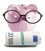 Piggy bank isolated and twenty euro on white background