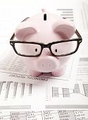 image of piggy  - Pink piggy bank and financial report - JPG