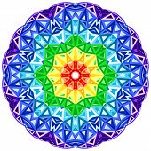 picture of kaleidoscope  - Rainbow kaleidoscope vector vibrant circle - JPG