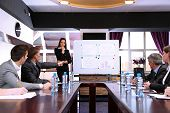 stock photo of coworkers  - Business training at office - JPG