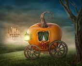 picture of fable  - Pumpkin orange carriage isolated on the meadow - JPG