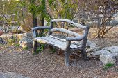 image of lawn chair  - Empty bench in park - JPG