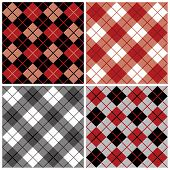 stock photo of tartan plaid  - Four seamless argyle and plaid patterns in black and red - JPG