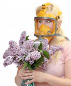 stock photo of respirator  - Allergy to pollen concept - JPG