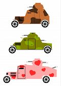 foto of armored car  - Vintage armored cars in colored camouflage - JPG
