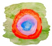 art green red circle ornament watercolor isolated for your desig