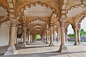 stock photo of mausoleum  - Many arches inside Red Fort Agra India - JPG
