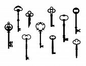 stock photo of skeleton key  - Vector collection of ten skeleton keys referenced from actual antique keys - JPG