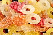 picture of jelly babies sugar  - Sweet mixed colorful jelly candies with studio lighting - JPG