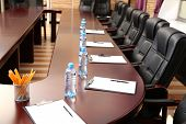 stock photo of clipboard  - Interior of empty conference room - JPG