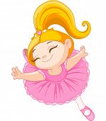 picture of ballerina  - Happy little ballerina in ballet jump - JPG