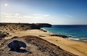 stock photo of papagayo  - Scenic view of Papagayo beach on island of Lanzarote - JPG