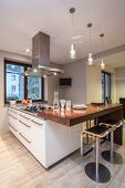 Travertine House - Kitchen With Tv