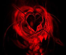 stock photo of broken-heart  - Bleeding heart hit by an arrow  - JPG