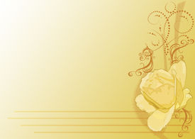 stock photo of floral design  - JPEG illustration of yellow gradient background with yellow rose in bottom right corner - JPG