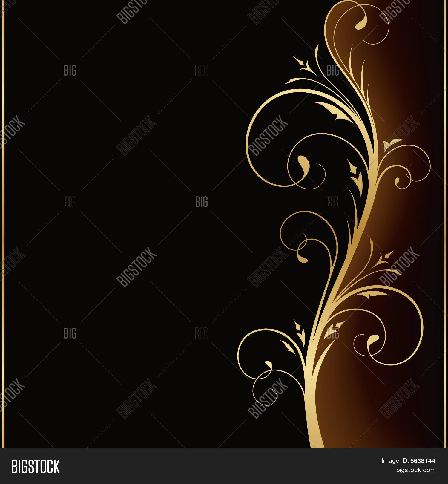 L gant fond noir avec dessin floral dor photos et - Dessin fond noir ...