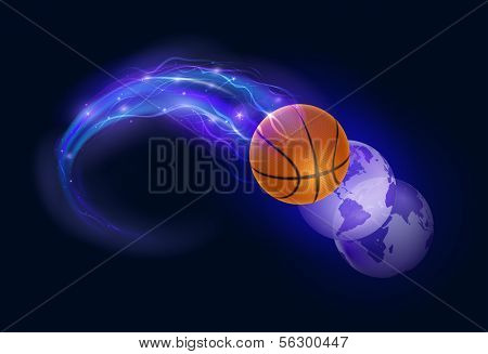 Basketball ball in flames and lights and world spheres against black background. Vector illustration.