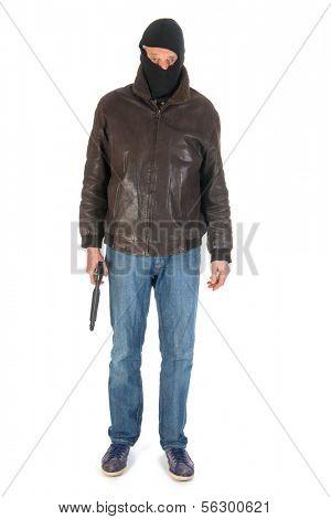 Sniper with gun in the studio