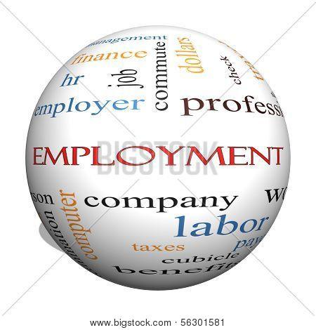 Employment 3D Sphere Word Cloud Concept