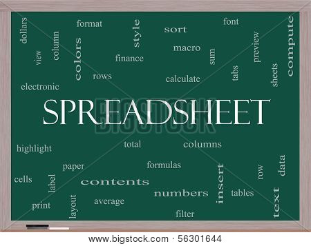 Spreadsheet Word Cloud Concept On A Blackboard