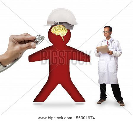 Doctor Checking Human Icon Wearing Safety Helmet Protect Smart Brain On White  Background