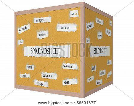 Spreadsheet 3D Cube Corkboard Word Concept
