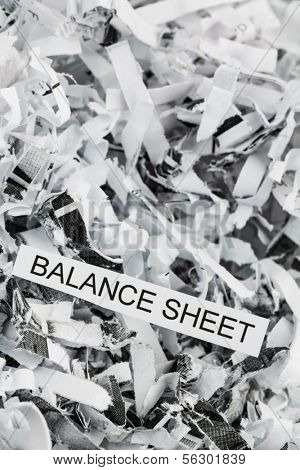shredded paper tagged with balance sheet, symbol photo for data destruction, budgets and accounting