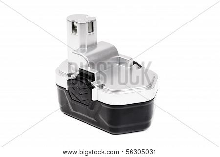 Silver Black Screwdriver Battery Isolated On White Background