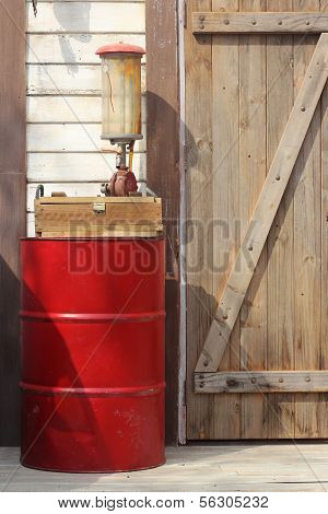 The Drum Of Fuel And Hand Pump
