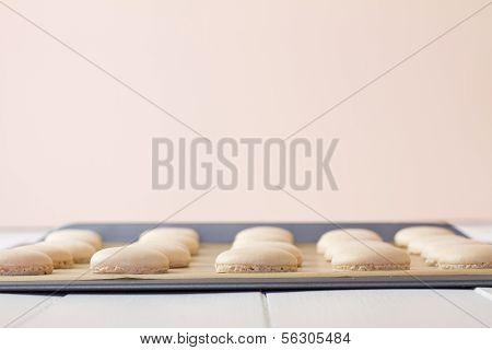 Macaron On Baking Sheet Low
