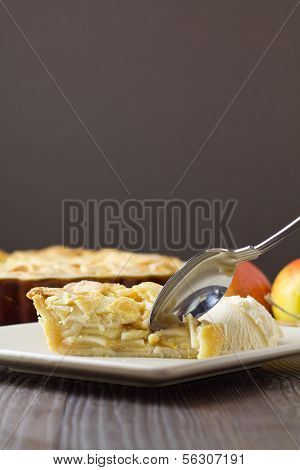 Slice Of Apple Pie And Ice Cream With Spoon, Vertical