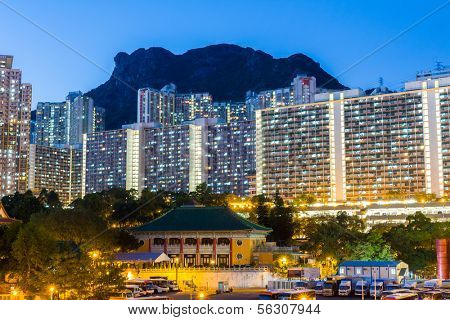 Kowloon residential building at night