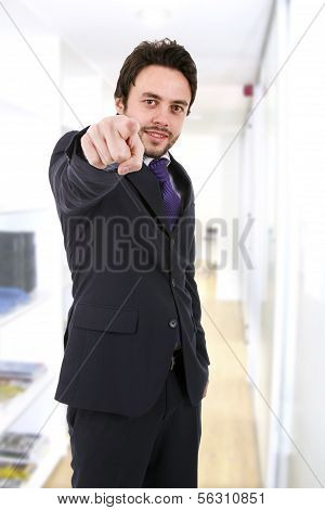 Business Man Pointing At Something With His Finger
