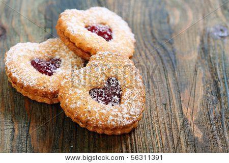 Linzer Cookie Close Up.