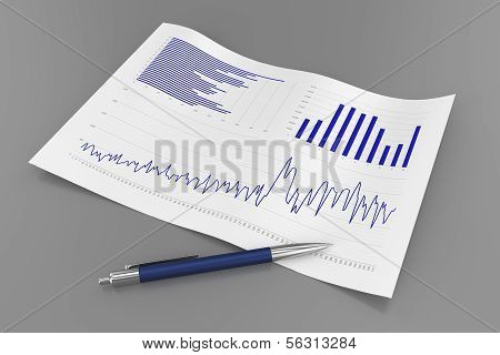 Sheet with Charts and Pen