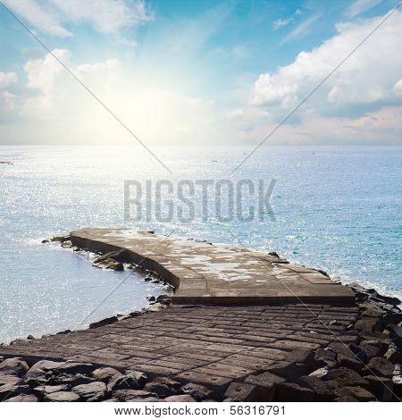 stone pier at sunny day