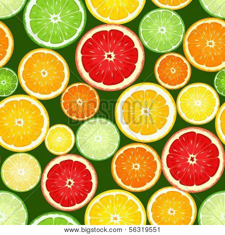 Seamless background with citrus fruits. Vector illustration.
