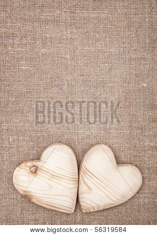 Wooden Hearts On The Burlap