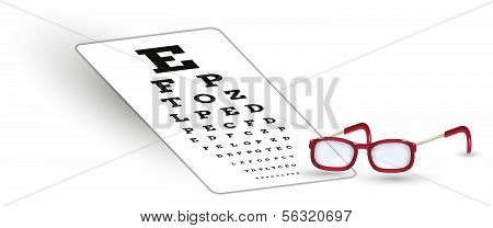 Sharp Snellen Chart And Glasses With Shadow On White Background
