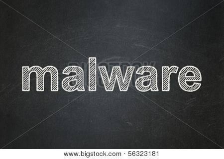 Protection concept: Malware on chalkboard background