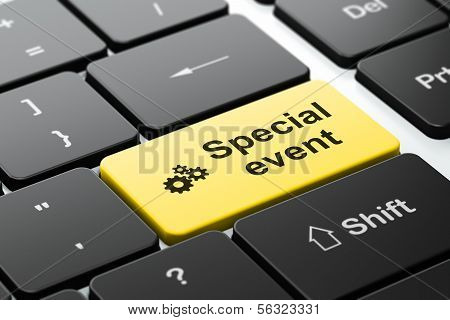Finance concept: Gears and Special Event on computer keyboard background