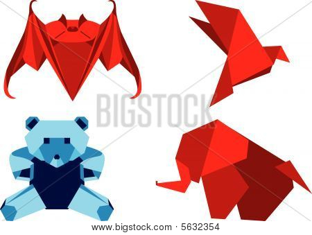 Origami set animals