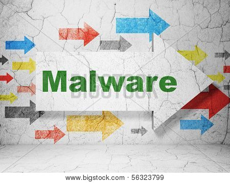 Security concept: arrow with Malware on grunge wall background
