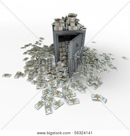 3D rendering of a safe full of hundred dollar notes