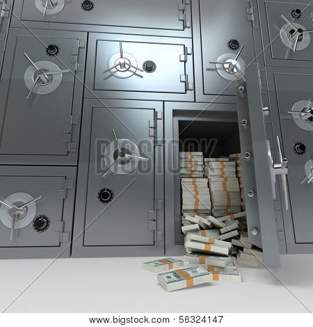 3D rendering of a wall of bank safes one of them open and full of dollars