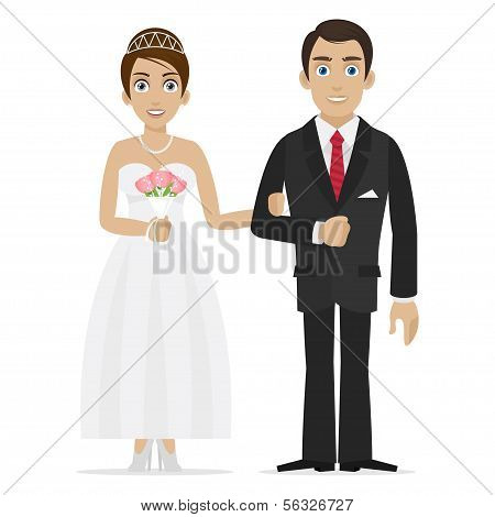 Groom and bride hold hands